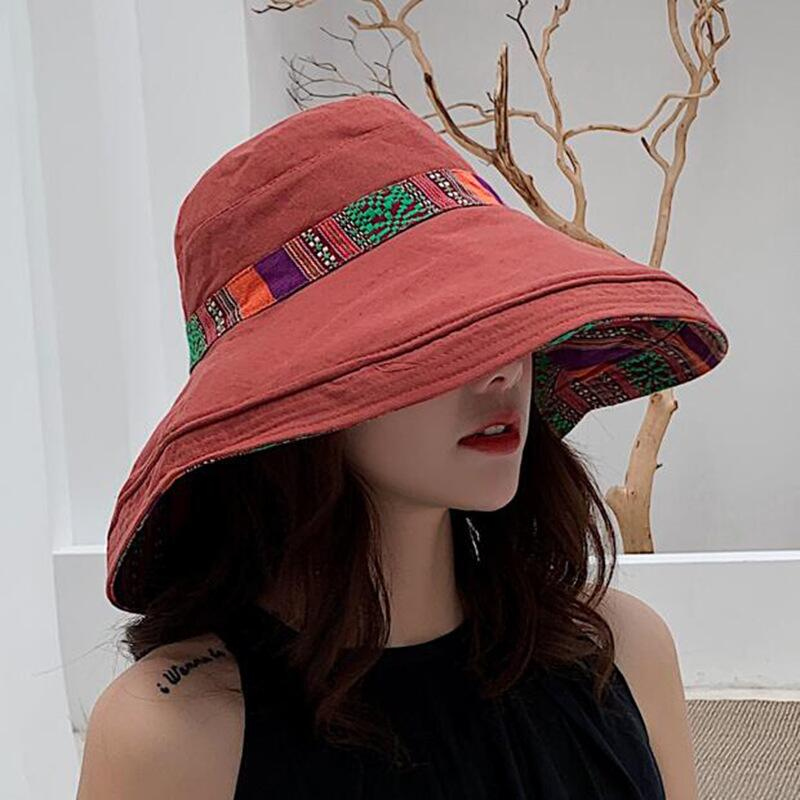 HTB1cdeFbx2rK1RkSnhJq6ykdpXag - Double sided irregular Pattern Bucket Hat Women Summer Cotton Breathable Leisure Bob Caps Outdoor Sports Casual Dome Panama Cap
