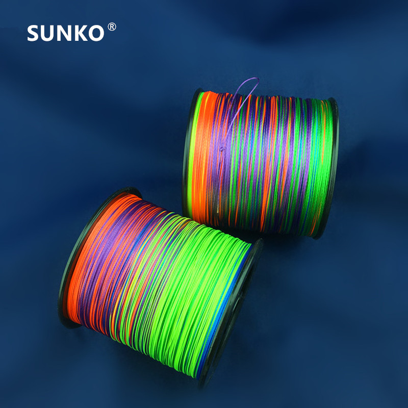 8strands 1000M SUNKO Brand Multifilament PE Material colorful Braided Fishing Line 18 30 40 50 60