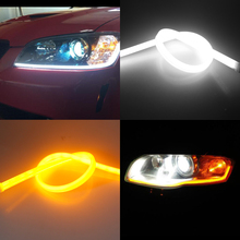 GEETANS 2PCS Universial Flexible Turn Signal Light Soft Tube Guide Car LED Strip White DRL and Yellow Daytime Running Light BE