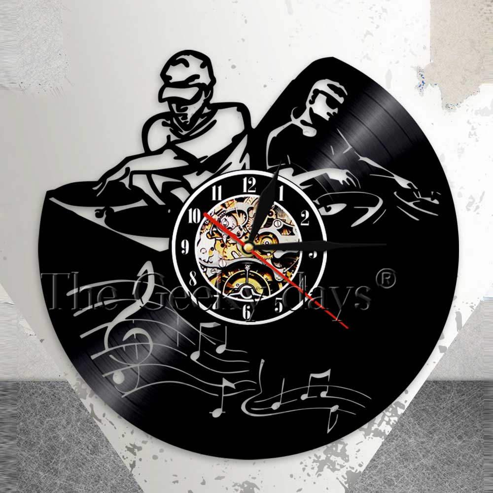 Record Player Mixer Dj Wall Clock Deejay Spinning Scratching Album