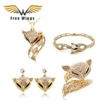 CS141 Fashion 2016 New  Luxury  Fox  Earring Rings Necklaces Bracelets Jewelry Sets F0031 ABC