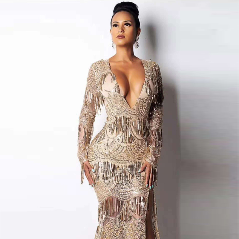 Deep V Neck Shining Gold Sequin Celebrity Party Sexy Dress