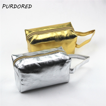 PURDORED 1 pc Gold & Sliver Laser Makeup Bag Women Cosmetic Bag For Makeup Travel Bag Organizer kosmetyczka Dropshipping