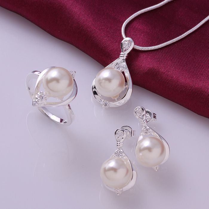2018 New Fashion Silver 925 Jewelry Set Crystal Pearl Ring Earrings Necklace bridal jewelry sets parure bijoux femme