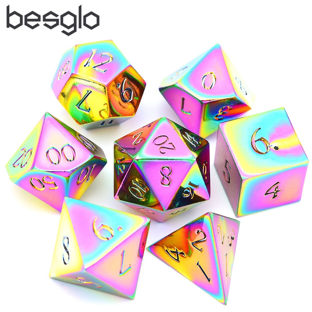 16mm Dragon Font Rainbow Metal Dice Dungeons And Dragons Metal Dice Set 7 Die Solid Dice With Gift Dice Bag For RPG Games