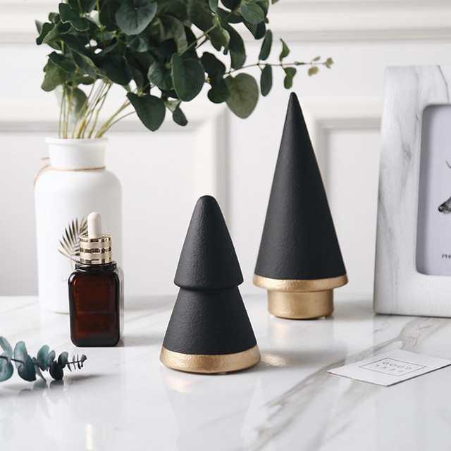 Nordic Geometric Black White Christmas Tree Minimalism Ceramic Decoration Home Living Room Craft Ornament Decor