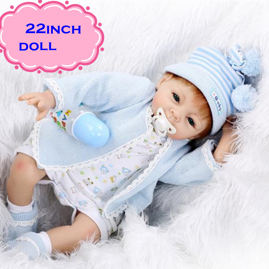 Newest Fashionable NPK Real Silicone Baby Dolls About 22inch Lifelike Doll Reborn For Baby Gift Bonecas Bebe Reborn Brinquedos free shipping hot sale real silicon baby dolls 55cm 22inch npk brand lifelike lovely reborn dolls babies toys for children gift