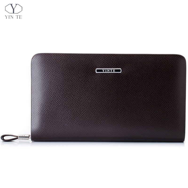YINTE Fashion Men's Clutch Wallets Leather Zipper Wallet England Style Brown Clutch Bag Passport Purse Men Card Holder T036-2 men s wallet genuine leather famous brand england style black clutch bag passport purse men card holder crocodile prints