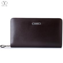 YINTE Fashion Men's Clutch Wallets Leather Zipper Wallet England Style Brown Clutch Bag Passport Purse Men Card Holder T036-2