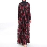 Women 3D Embroidery Lace Abaya Long Sleeve Maxi Floral Dresses Muslim Islamic Robe Arab