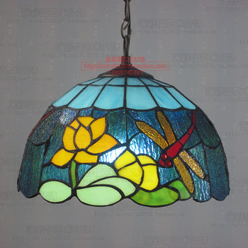 12 Inch Flesh  lotus   Dragonfly Tiffany pendant light  Stained Glass Lamp for Bedroom E27 110-240V