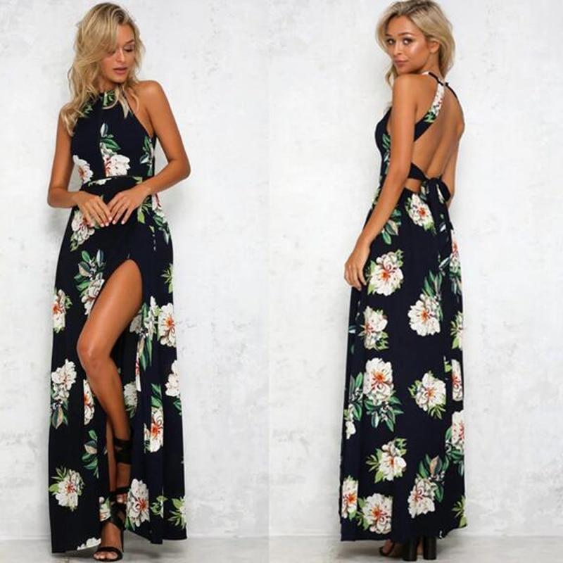 Vestido de la Impresión Floral Del Hombro de Hendidura Maxi Vestido de 2017 Muje