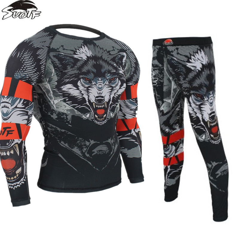 MMA Fitness Tattoo Wolf Pattern Thai Boxing Sports Sweater Long Sleeve Boxing Jerseys + Pants Tiger Muay Thai Jerseys MMA Shorts