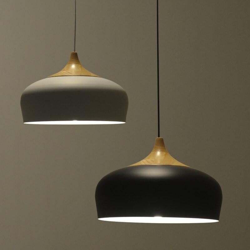 nordic pendant lamp modern restaurant bed room lighting japanese wood pendant lights blackwhite light