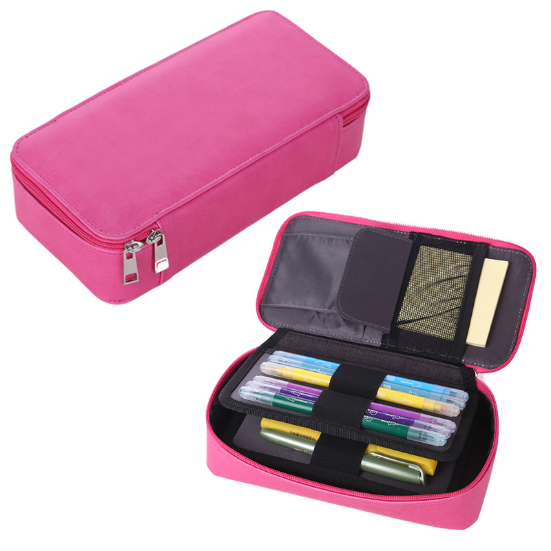 School Pencil Case for Girls Boys Pencilcase Korean Cartridge Penal Box Large PU Pen Bag Stationery Kit Big Pouch Supplies
