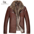Brand Men's leather fur Jackets Wool Liner+Genuine sheepskin+Raccoon Fur Collar Luxury male Winter Coat 15N15931