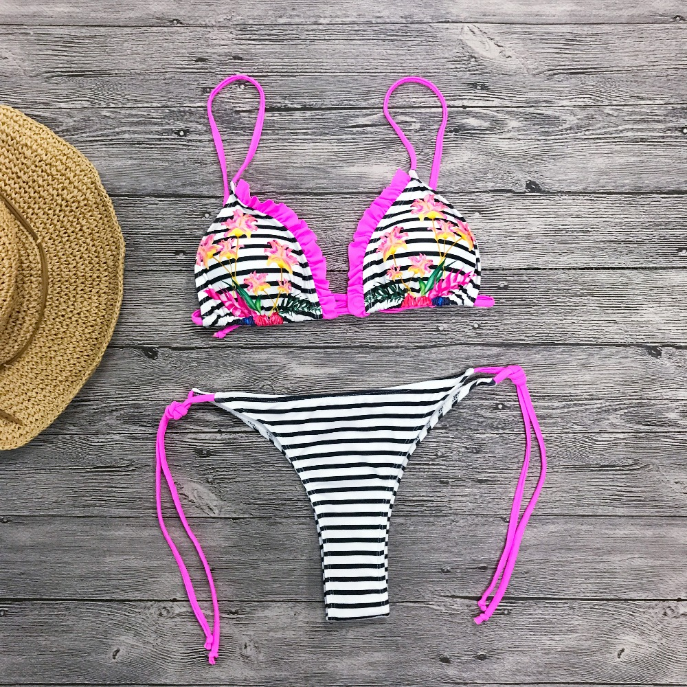 HTB1cdftX5nrK1Rjy1Xcq6yeDVXa9 2019 Sexy Brazilian Bikini Swimwear Women Halter Push Up Bikini Set Swimsuit Female Floral Print Bandage Biquini Bathing Suit