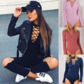 2016 playsuits and jumpsuits for women New Autumn Slim Long Sleeve V neck Rompers Sheath Blended Playsuits Jumpsuits LT0001