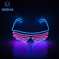 Light Up Glow Glowing El Wire Sunglasses With 2 AA Battery Opperated Free And Drop Shipping