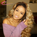 Density 180% Ombre Honey Blonde Body Wave Full Lace Human Hair Wigs Malaysian Virgin Hair 1B/27# Glueless Lace Front Wigs