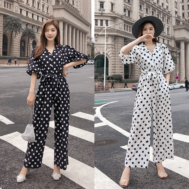 Spring Summer Women Vintage Polka Dot Rompers Single Breasted Leisure Pocket Women Loose Wide-leg   Jumpsuits