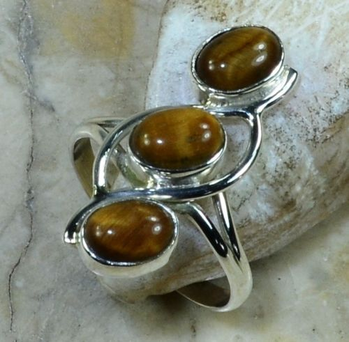 Hand make  Nature Tiger EYE Ring 100% 925 Sterling Silver, 4.4G, Size:7,  Gift BOX