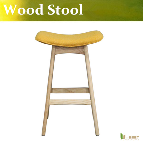 Free shipping U-best   wood counter stools for  wood kitchen stool,modern room furniture airlift stools in fabric covering