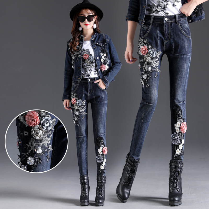 Embroidery Women Jeans Stretch Skinny Jeans Woman Elastic Denim Pants Feminino Luxury Jeans A528