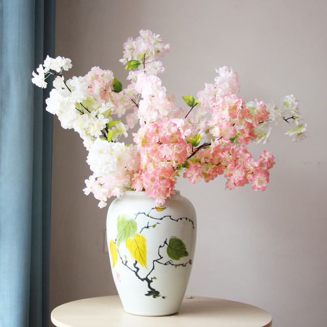 Modern New Chinese Ceramic Branch And Leaf Table Big Flower Vase In