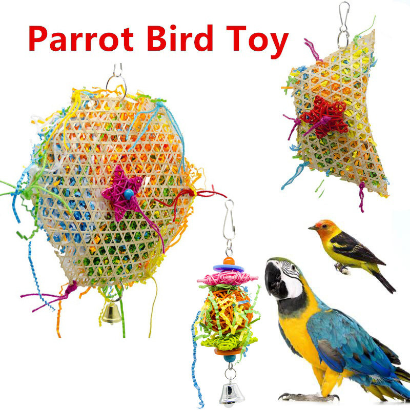 Parrot Bite Toys Birds Wooden Climbing Biting Straw Rope Colorful Funny Play Toy with Hanging Hook