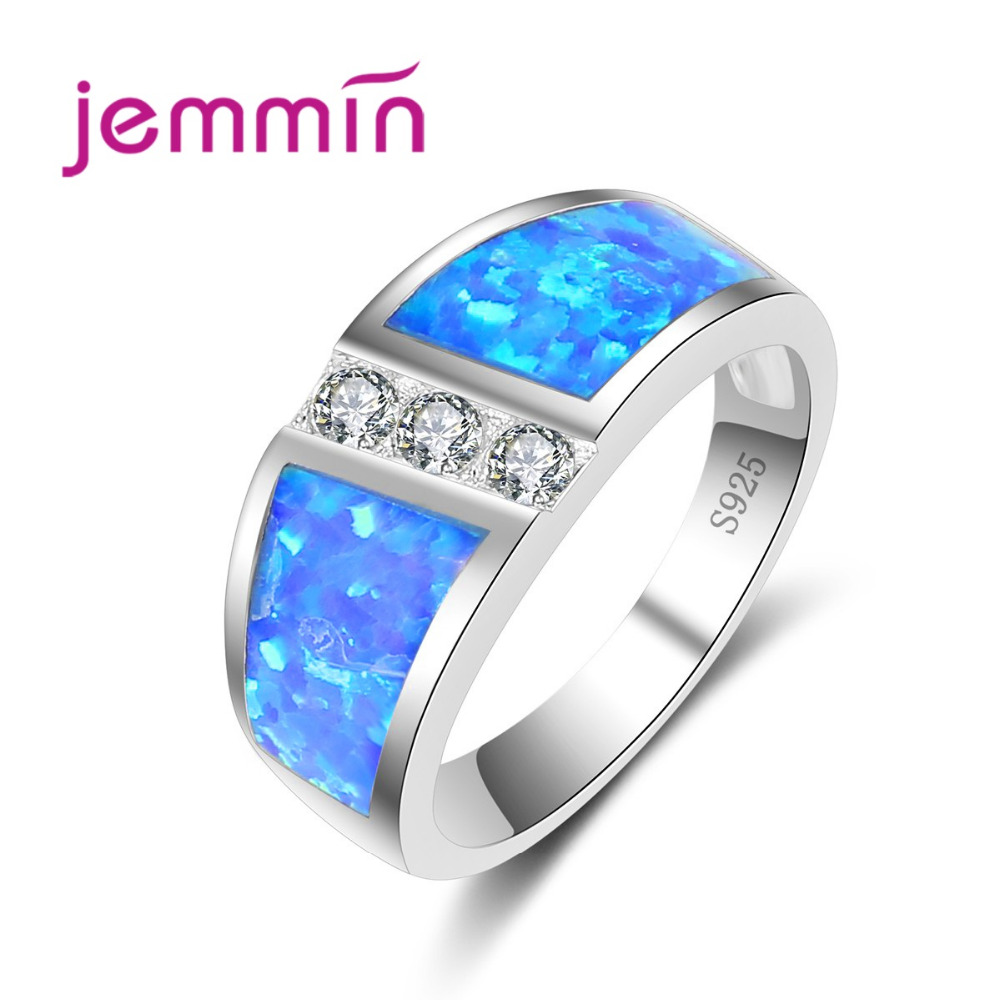 Noble Symbol Romantic Trendy White Stone Blue Fire Opal Ring Women White Crystal Silver Wedding Engagement Jewelry