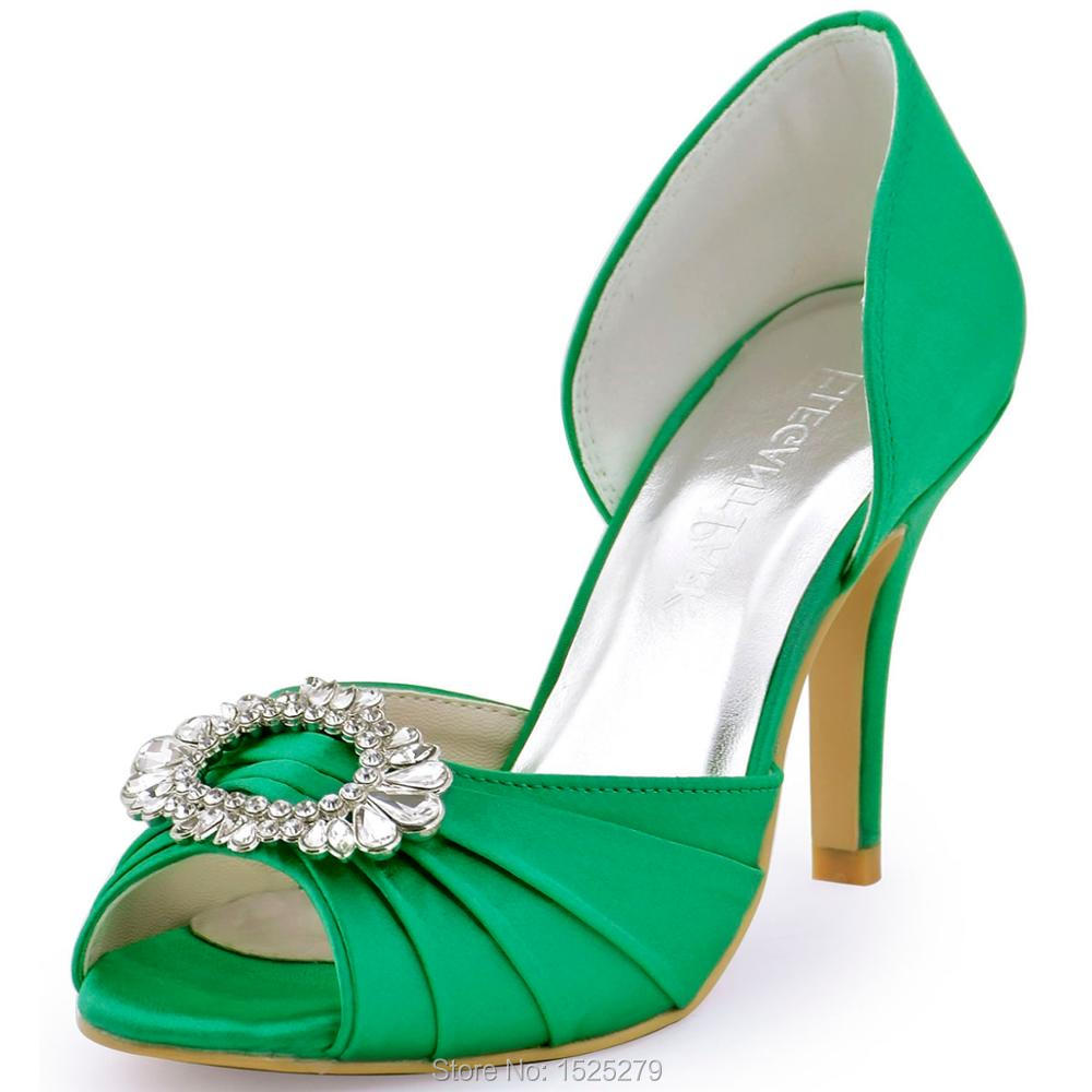 A2136 Green Women Shoes Bride Bridesmaids Open Toe Prom Pumps High Heels Rhinestone Buckles Pleat Satin Wedding Bridal Shoes