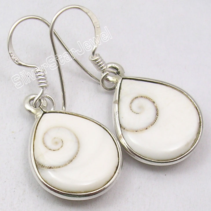Chanti International Silver Indian SHIVA EYE Shell Drop Style Earrings 1 3/8 inches NEW