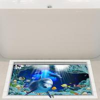 3D Bathroom Anti Slip Washable Dolphin Pattern Floor Sticker Waterproof Shower Decor 2MY31