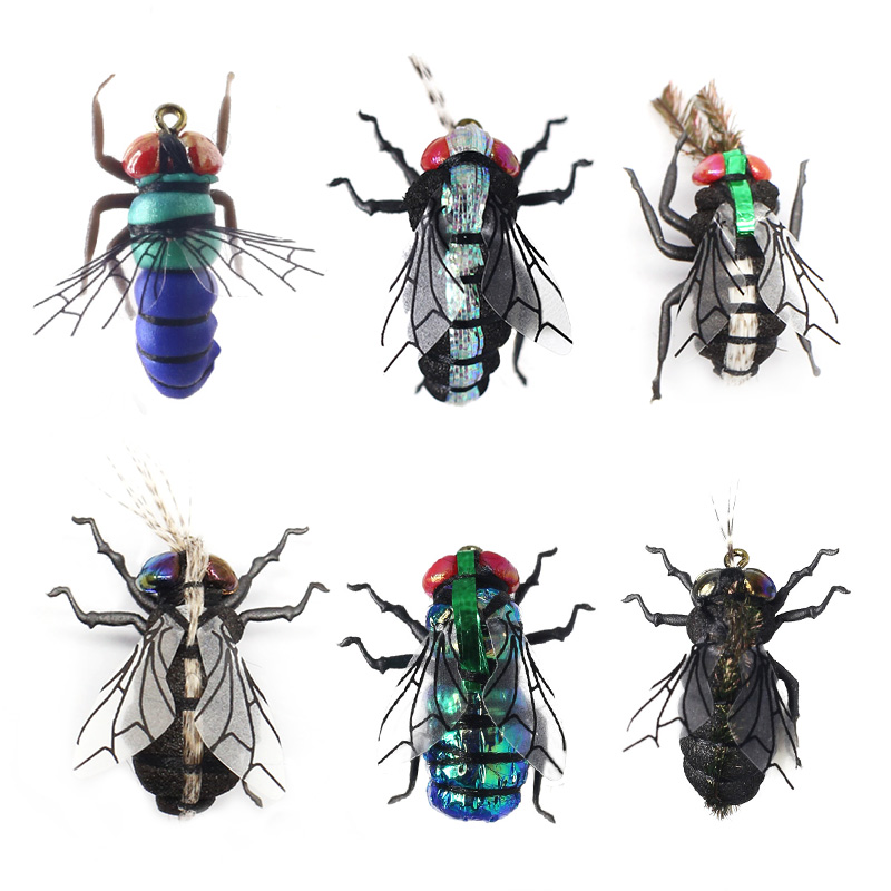 Fly Fishing Flies set 12pcs Mosquito Housefly Realistic Insect Lure for Trout Lure kit flyfishing-in Fishing Lures from Sports & Entertainment