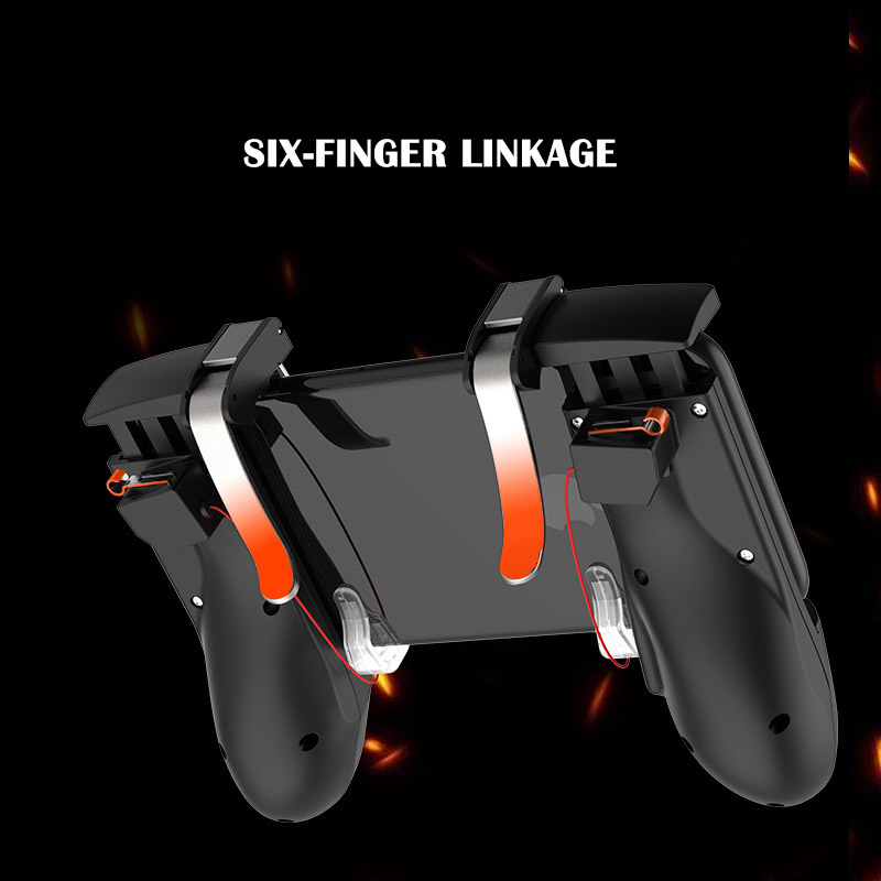 Image 2 - Six finger linkage PUBG Mobile Game Controller Gamepad Trigger Fire Button Aim Button L1 R1 Shooter Joystick For iphone Android-in Gamepads from Consumer Electronics