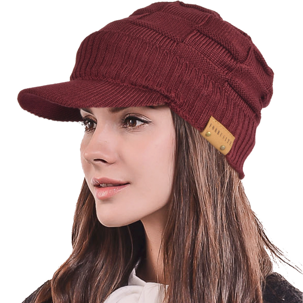 Winter Visor Beanie Knitted Hat Cap With Faux Leather Brim