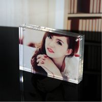Clear Acrylic Magnet Photo Frame Block (6x8)