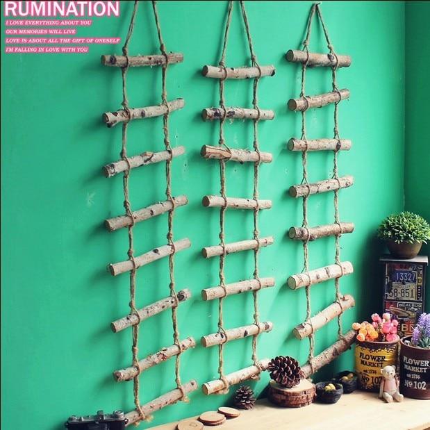 livraison gratuite echelle decorative en bois naturel de style postral escabeau mural decoration en corde de lin decoration artisanale en bois