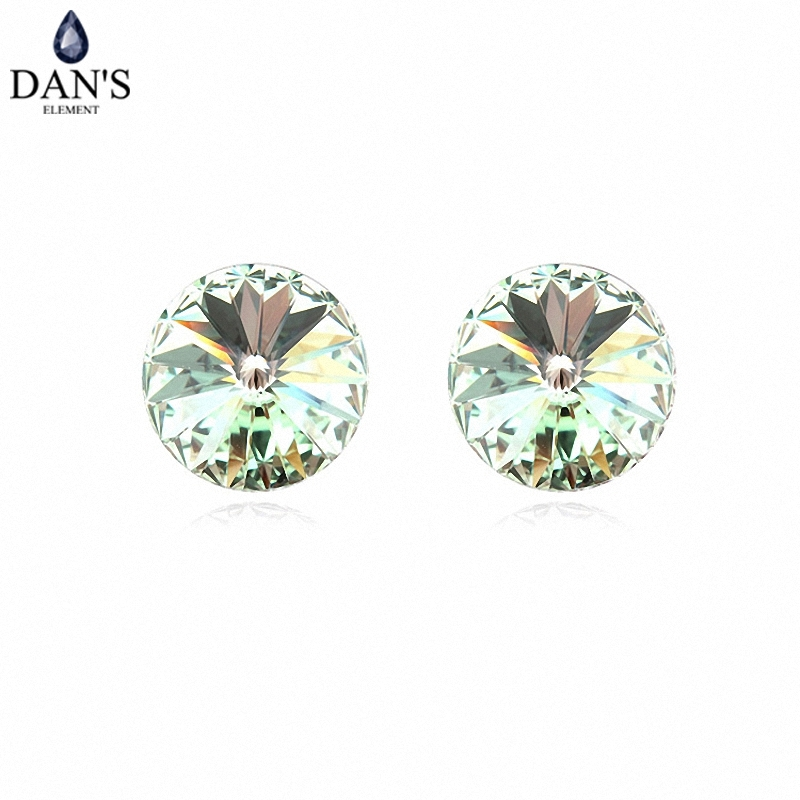 DANS 7 Colors Real Austrian crystals Stud earrings for women Earrings s New Sale Hot Round 96550Olive