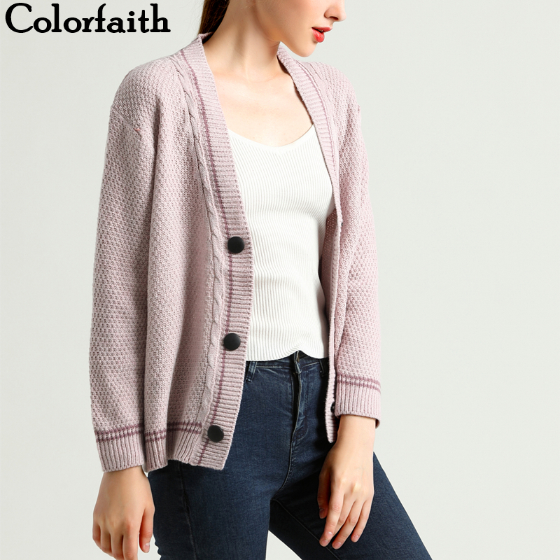 Colorfaith New 2019 Autumn Winter Women's Sweaters V-Neck Button Single Breasted Long Sleeve Korean Style Cardigan Tops SW6709