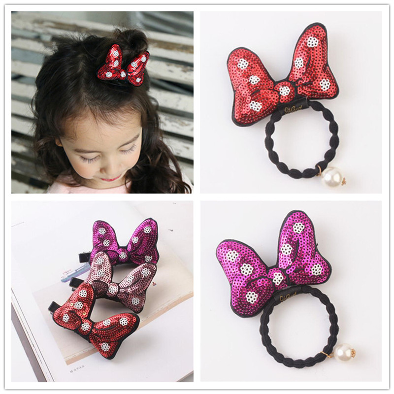Minnie Mouse Ears Sequin Bow Cartoon Girls Kids Elastic Hair Rubber Bands Accessories For Children Ring Ties Scrunchie Headwear