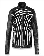 Black fashion long sleeve zebra pattern mens leather jackets and coats autumn slim fit man motorcycle clothes european M – 3XL