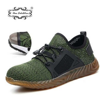 Новая выставка 2019 легкая Мода дышащая защитная обувь мужчины стальной носок анти-разбив тапки рабочие защитные сапоги 35-46