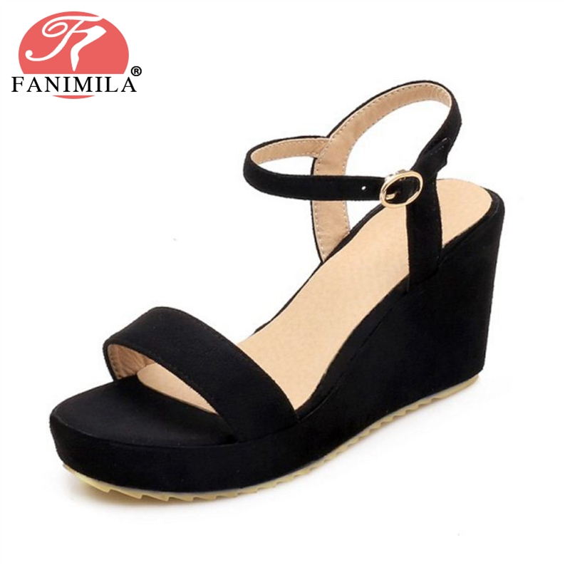 FANIMILA 4 Color Women High Wedges Sandals Open Toe Platform Ankle Strap Sandals Summer Daily Shoes Women Footwear Size 34-39 ribetrini women hot sale cow leather low heel wedges summer casual shoes woman ankle strap open toe platform sandals size 34 39