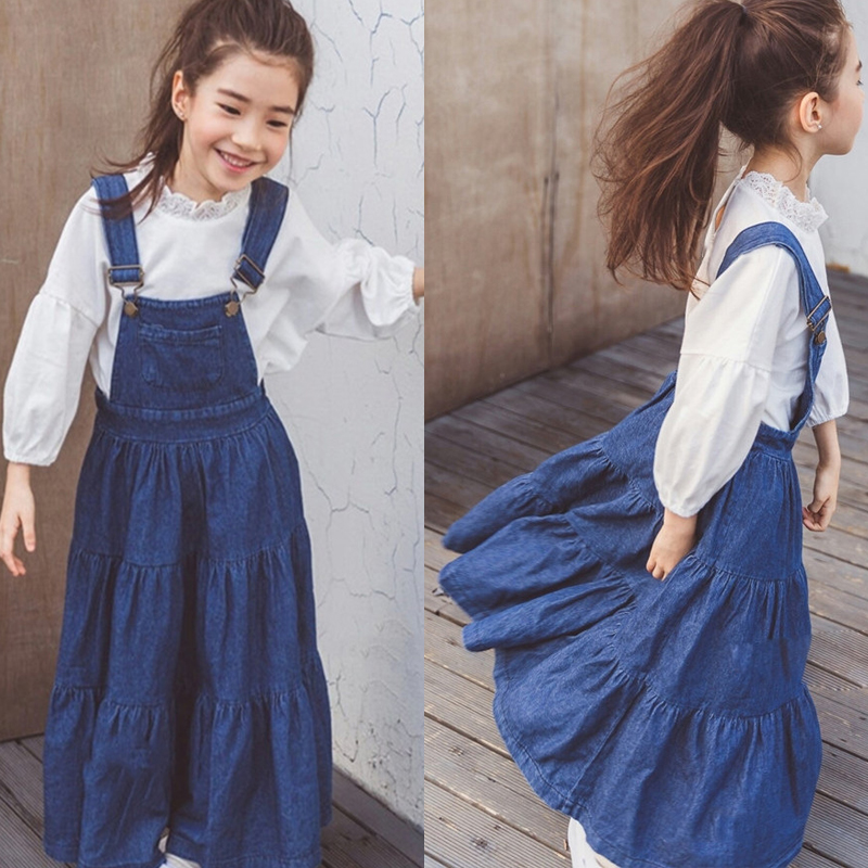 Baby Girls Skirt Suit Denim Strap Dress Long Sleeve T shirt Kids Tracksuit for Girls Clothes 10 12 Years Children Clothing цена