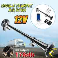 12V 178DB Single Trumpet Air Horn Chrome Compressor Truck Train Single Universal Compatible with all Car