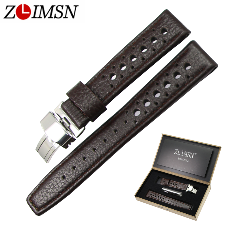 ZLIMSN Genuine Leather Watchband Replacement Butterfly Buckle 20 22mm Strap Black Brown Wristband Men Women Watches Accessories zlimsn genuine leather watchband 18mm 20mm black brown watch band strap single push butterfly buckle clasp relojes hombre 2017