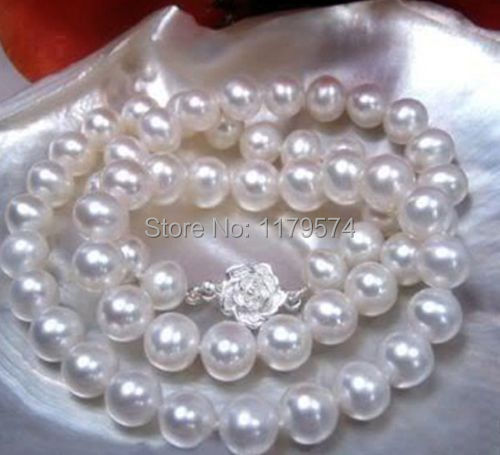 "12 mm AAA Blanc South Sea Shell collier de perles 18/"" AMOUR Fermoir"