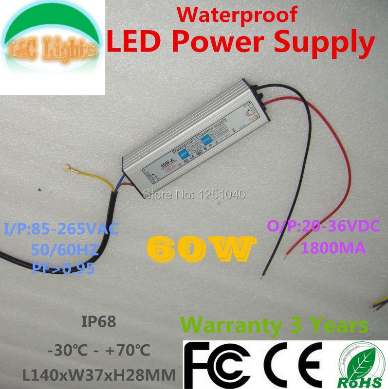 60W IP67 vodotěsný napájecí zdroj 1800 mA adaptér adaptéru LED 110V 220V PF> 0,95 transformátory osvětlení pro LED Floodlight CE RoHS